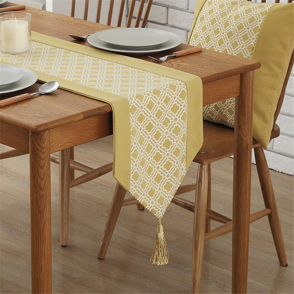 European minimalist geometric yellow table runner with delicate pendant tassels 12 x 62 inch approx Homes hold table runner