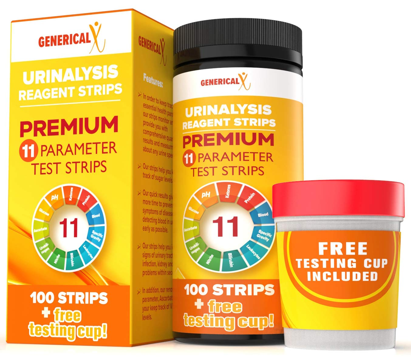 (100 Strips and Testing Cup Included)  11 Parameter Urine Test Kit   for UTI's, Ketosis, Blood, Protein, pH   For Gallbladder, Bladder, Urinary Tract, Kidney, Liver Health   FDA-Approved Reagents by Generical X