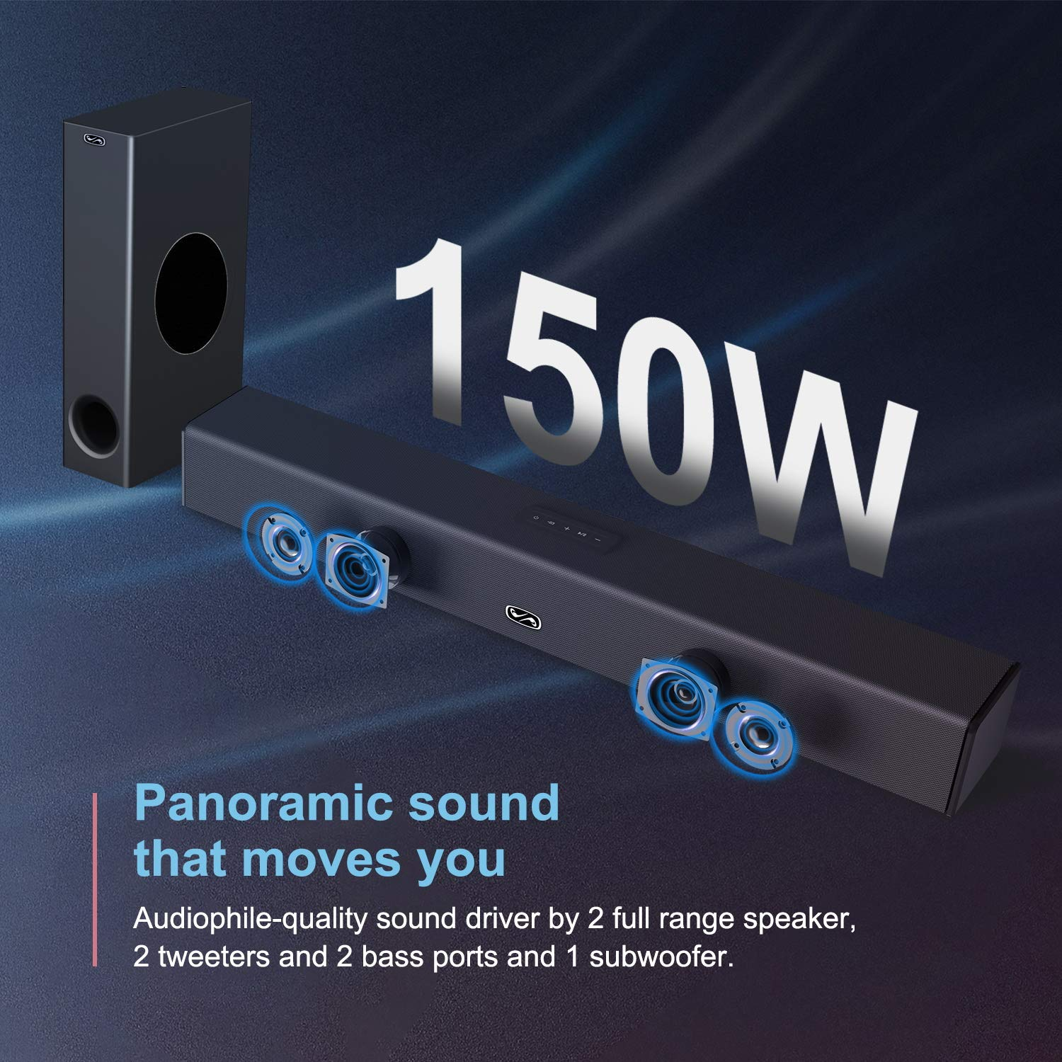 Sound Bar with Subwoofer, BESTISAN 150 Watt 2.1 Channel Sound Bars for TV with Bluetooth 5.0 and Wired Connections, 110dB, 3 Equalizer Mode, Bass Adjustable, Wall Mountable, Deep Bass for Home Theater