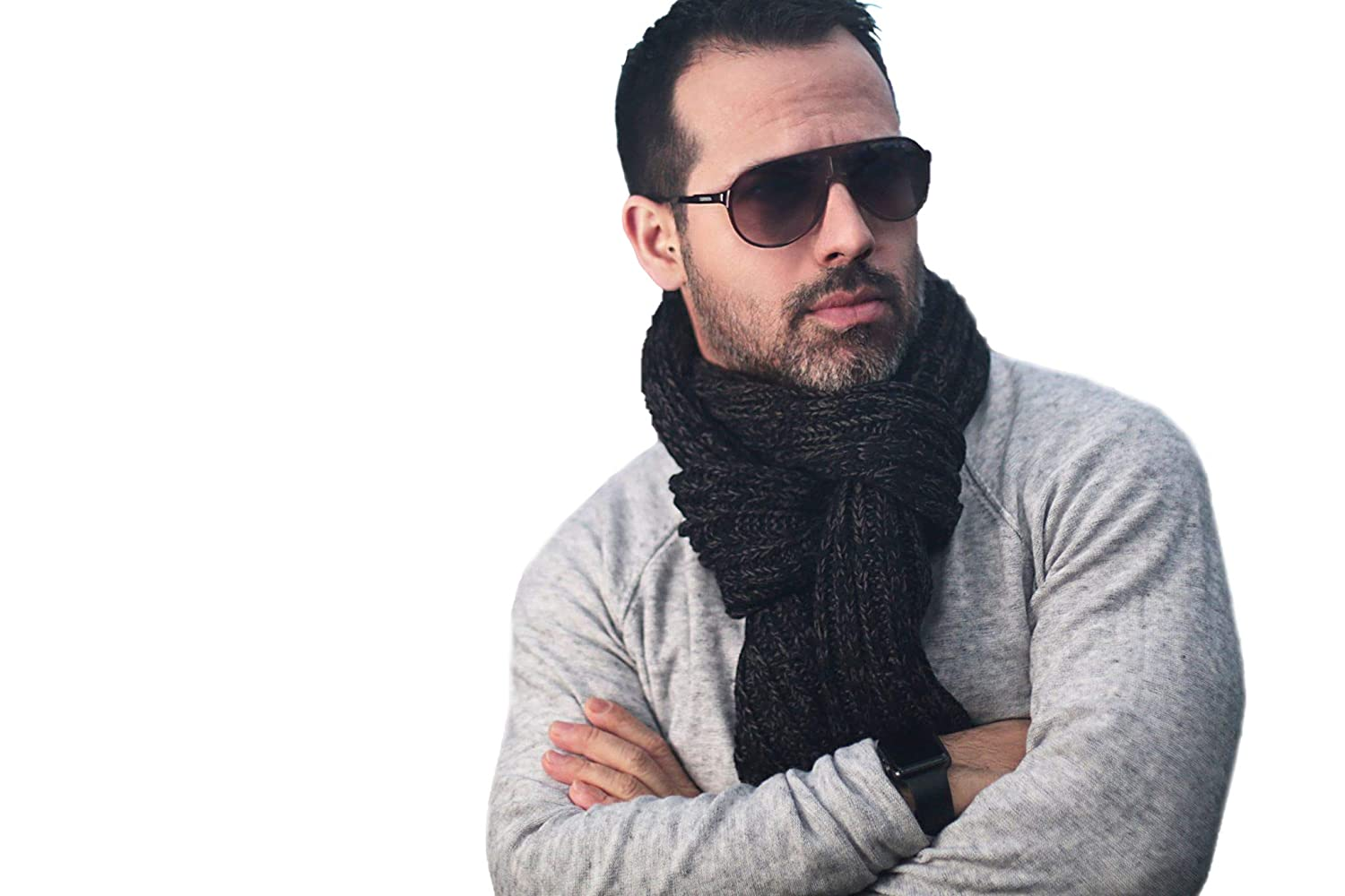 One Size Black Men Knitted Scarf Softer than Cashmere Wool Touch Plaid Solid Perfect Gift for Him