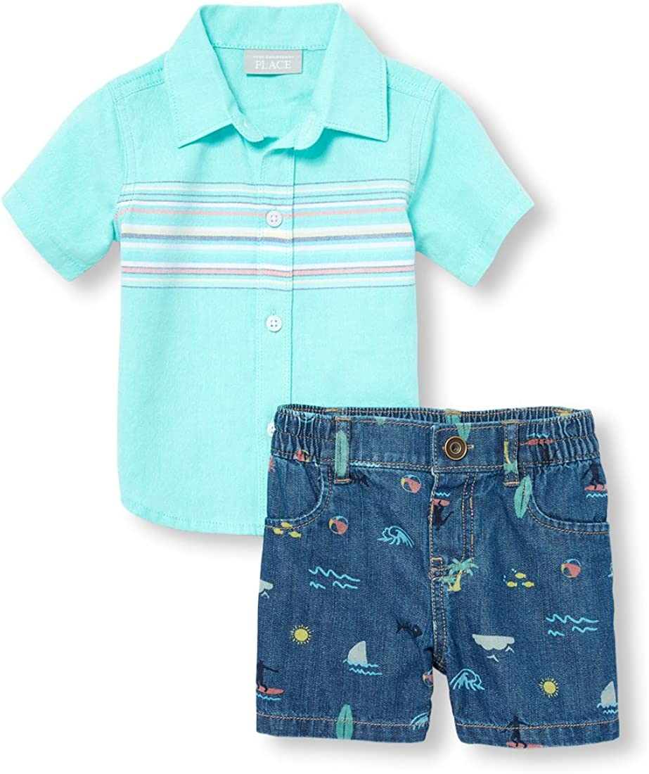 The Childrens Place Baby Boys Short Sleeve Shirt Set