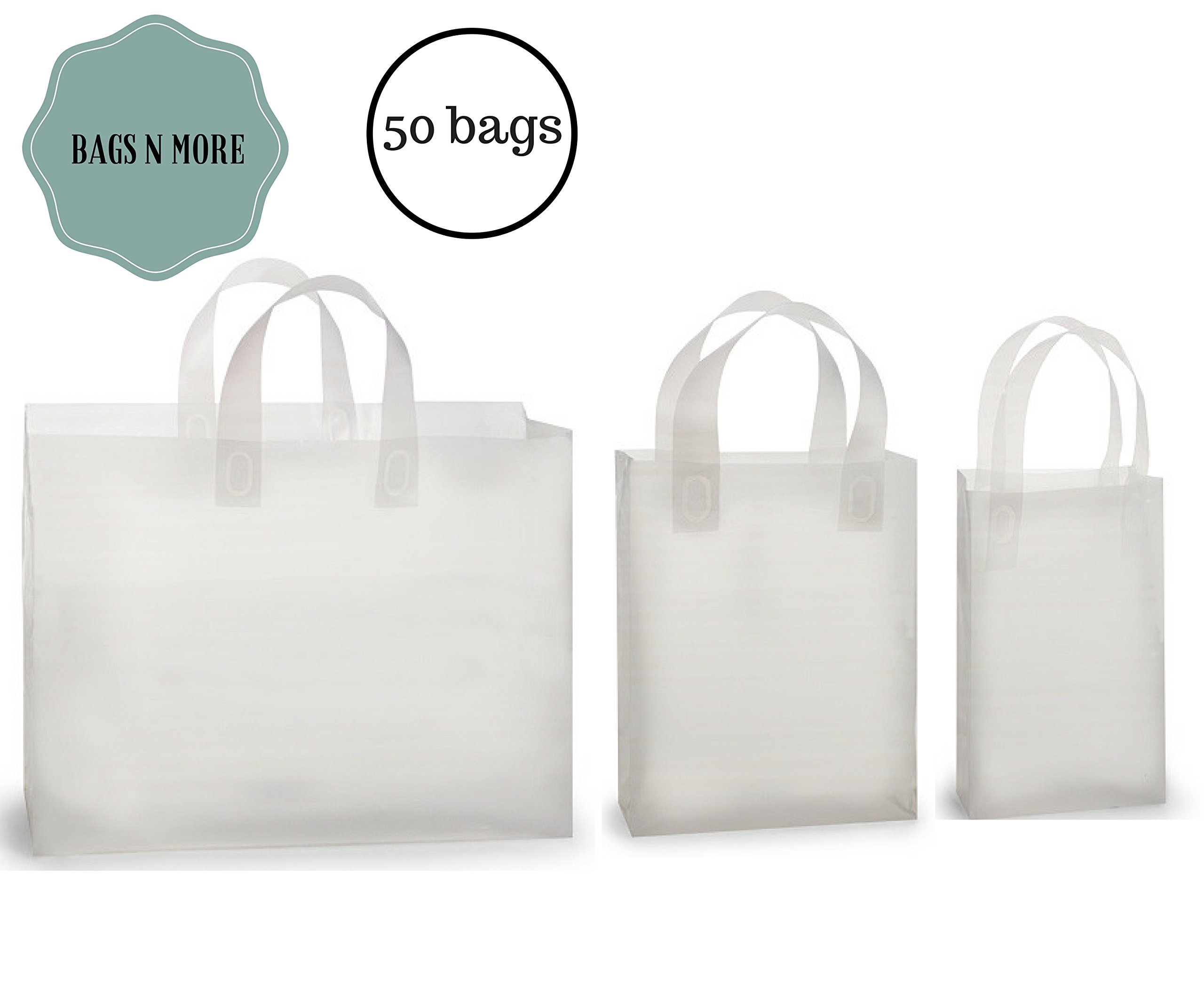 Shopping Bags Small Medium & Large, Clear Gift Bag with Handles, 50 Count Assortment, Gusset with Cardboard for Retail Merchandising