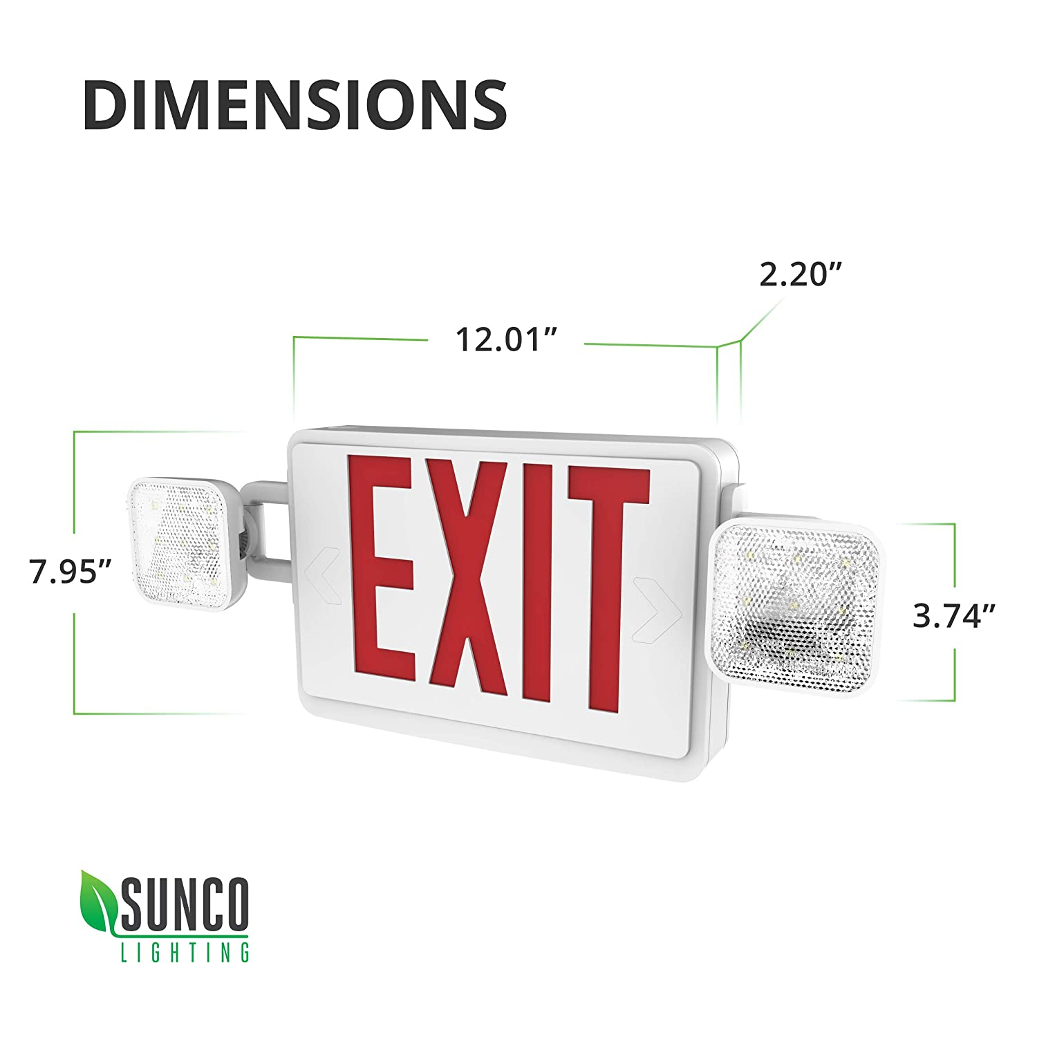 Fire Resistant Sunco Lighting 6 Pack Double Sided LED Emergency EXIT Sign US Standard Red Letter Emergency Exit Lighting Two LED Flood Lights Backup Battery Commercial Grade