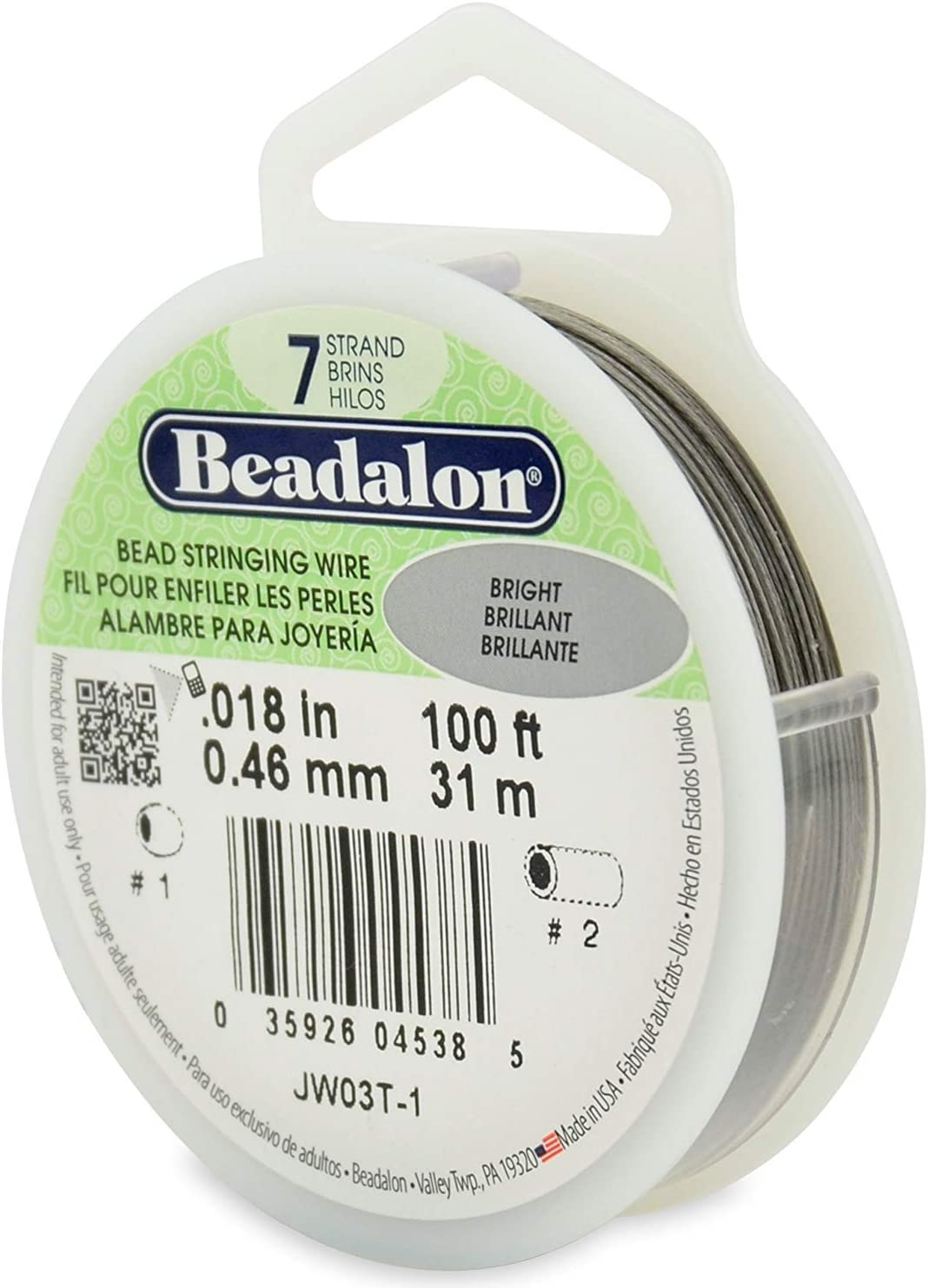 Bright 0.018-Inch Beadalon JW03T-1 100-Feet 7-Strand Stainless Steel Bead Stringing Wire