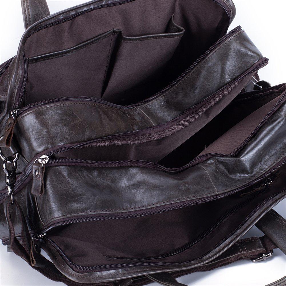 Genda 2Archer Leather Business Briefcase Messenger Bag Fit 15.6-inch Laptop