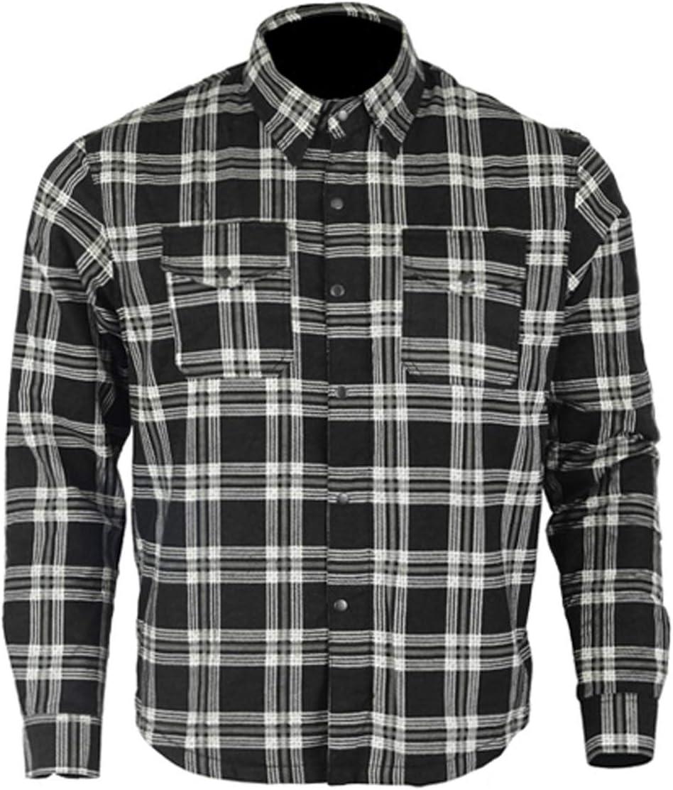 Bikers Gear Australia - Camisa protectora de franela para motocicleta con forro de aramida multicolor negro y blanco extra-large: Amazon.es: Coche y moto