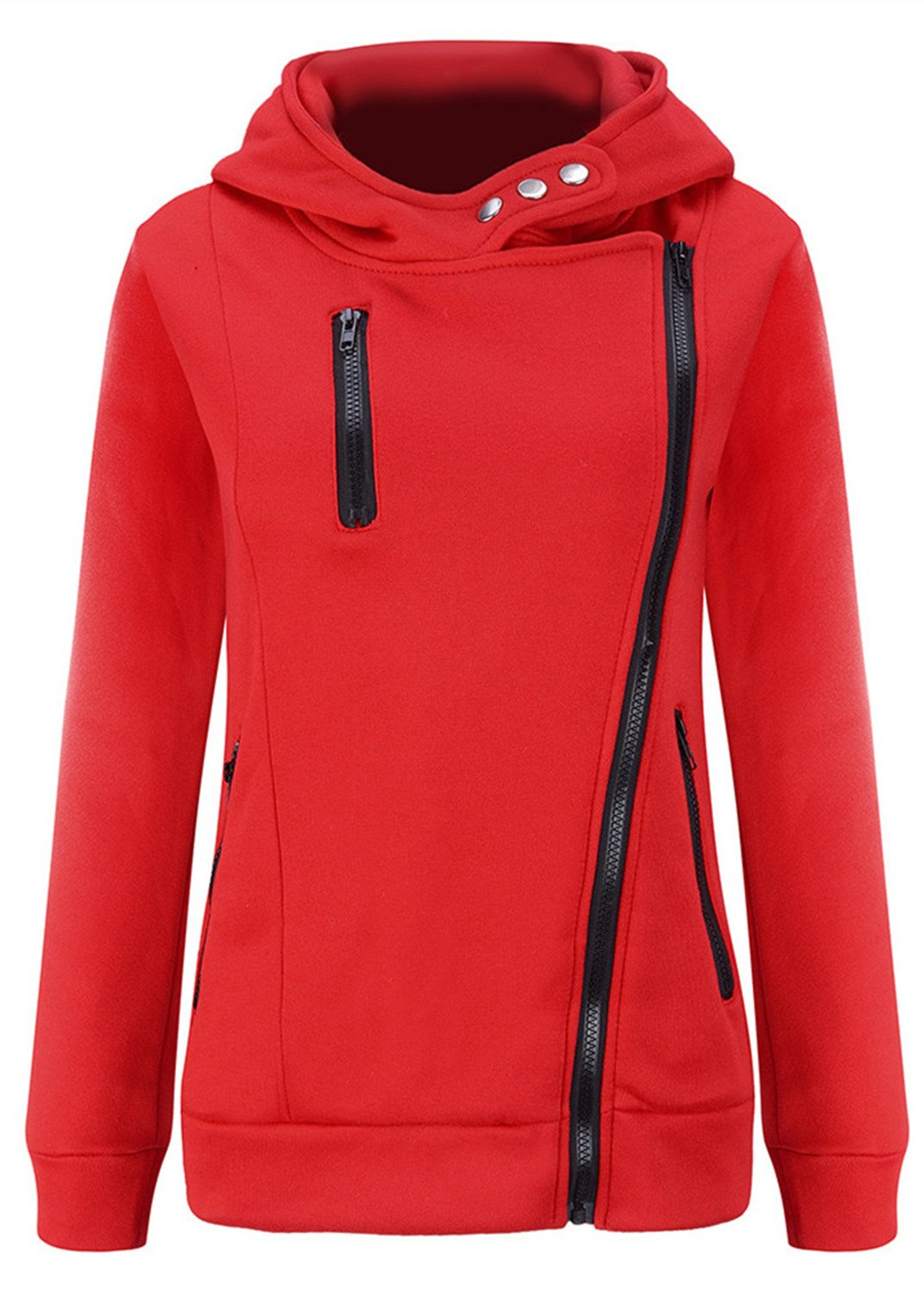 Arctic Cubic Asymmetric Asymmetrical Thick Warm Full Lined Hooded Hood Hoodie Cotton Sweatshirt Top Button Side Zip Closure Red S