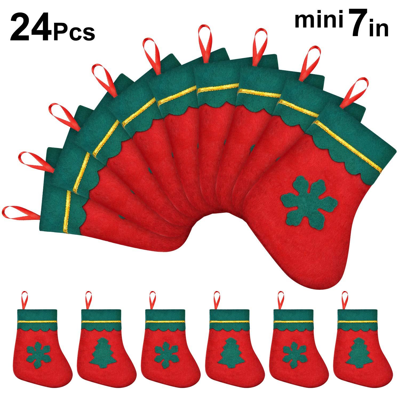 Rouge et Vert 24 Pi/èces Mini Bas de No/ël 7 Pouces Chaussettes de Carte de Cadeau de No/ël Porte-Couverts pour D/écorations de Sapin de No/ël Rustiques