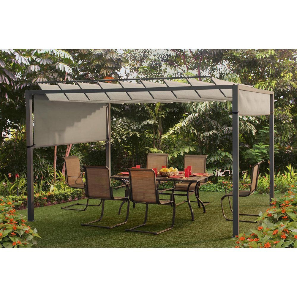 amazon com sunjoy louvered pergola for a shaded backyard getaway
