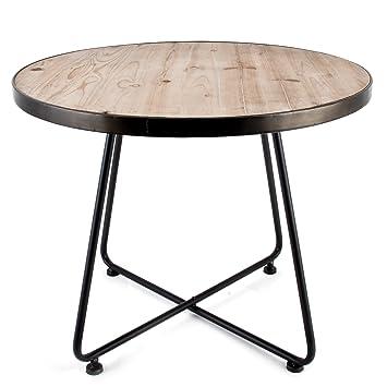 Tisch Rund Metallgestell.Tisch Rund Art Deco Design Metall Holz Braun Grau
