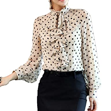43086501e4ef7 Nonbrand Womens Party Dress Top Long Sleeve Satin Shirt Polka Dot Blouse  Winter Ladies Spotty Top Vintage Shirts Size LMS XS