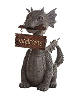 Pacific Giftware Garden Dragon Welcome Dragon Garden Display Decorative Accent Sculpture Stone Finish 10 Inch Tall