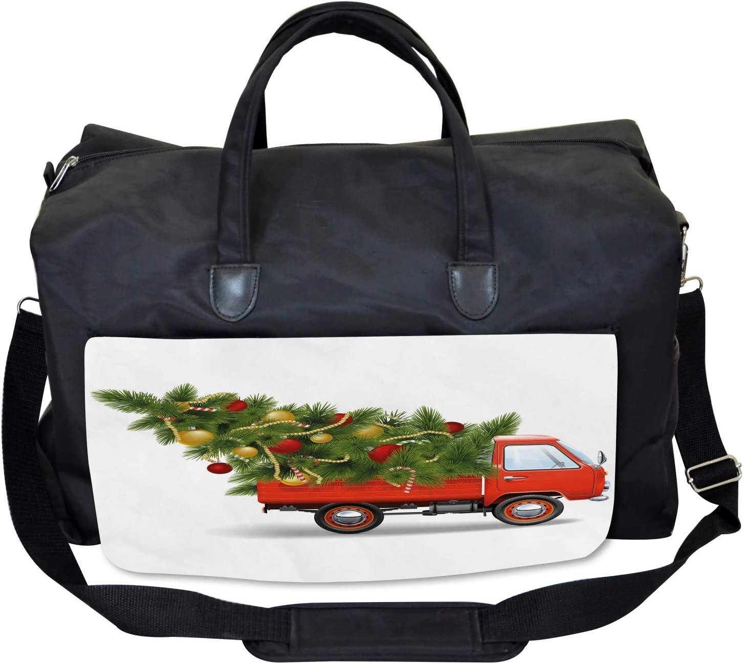 Xmas Truck and Tree Large Weekender Carry-on Ambesonne Christmas Gym Bag