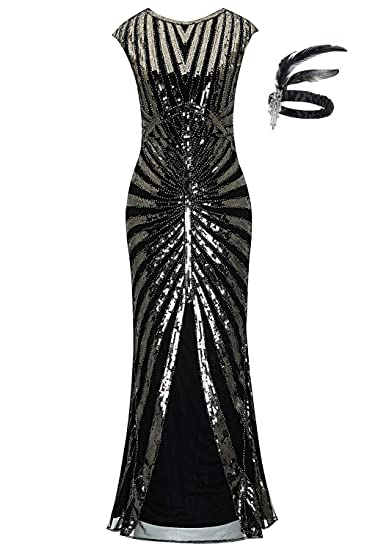 fe636d4766 1920s Sequin Mermaid Formal Long Flapper Gown Great Gatsby Party Evening  Dress GA25  Amazon.co.uk  Clothing