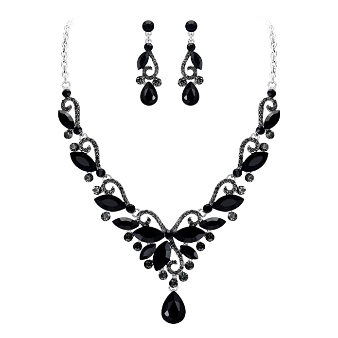 EVER FAITH Juegos de Joyas para Mujer Cristal Austríaco Boda Flor Hoja Vid Lágrima Negro Tono Plateado Collares Pendientes Conjunto