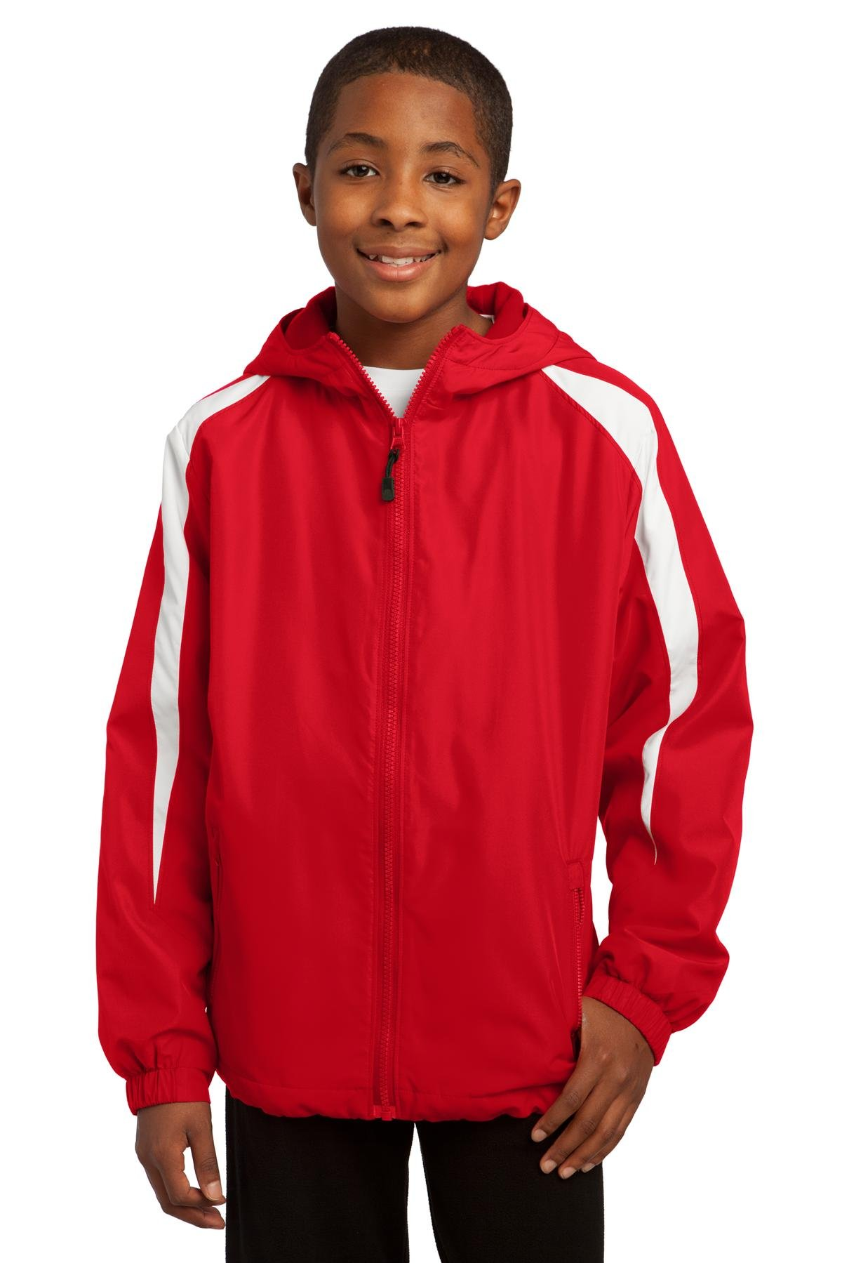 Sport-Tek Youth Fleece-Lined Colorblock Jacket, True Red/White, L by Sport-Tek