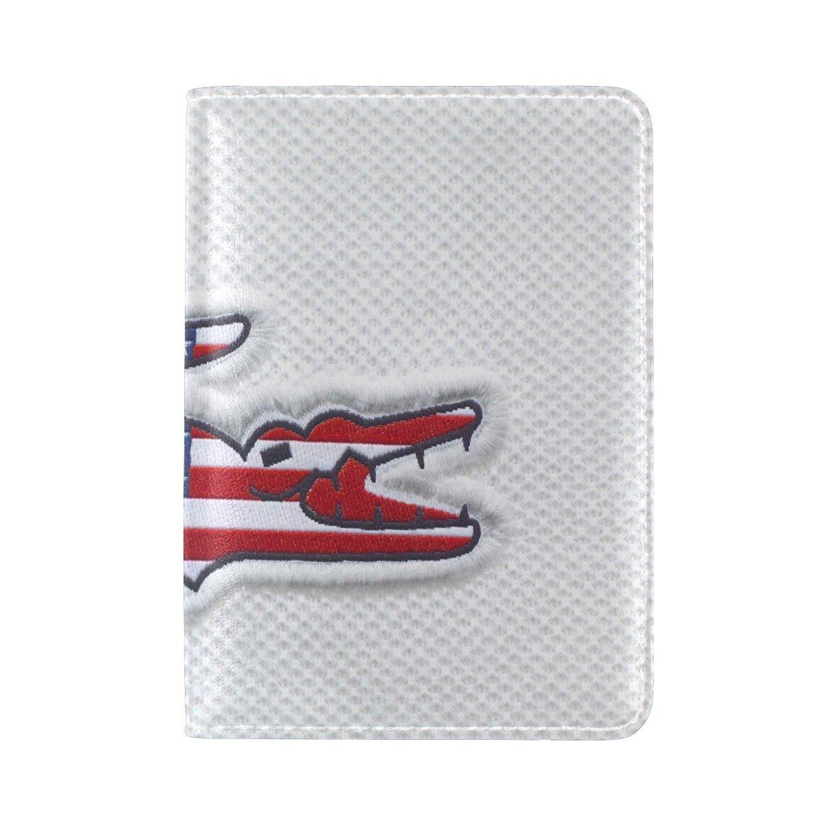Lacoste Us Flag Brand Crocodile Logo Leather Passport Holder Cover Case Travel One Pocket