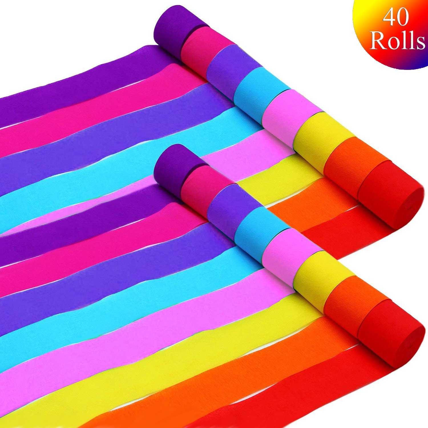 40 Rolls Crepe Paper Streamers, 8 Colors, for Birthday Party,Class Party,Family Gathering,Graduation Ceremony Decorations