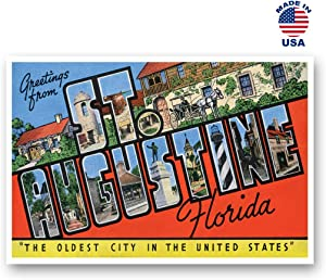 GREETINGS FROM ST. AUGUSTINE, FL vintage reprint postcard set of 20 identical postcards. Large Letter St. Augustine, Florida city name post card pack (ca. 1930's-1940's). Made in USA.