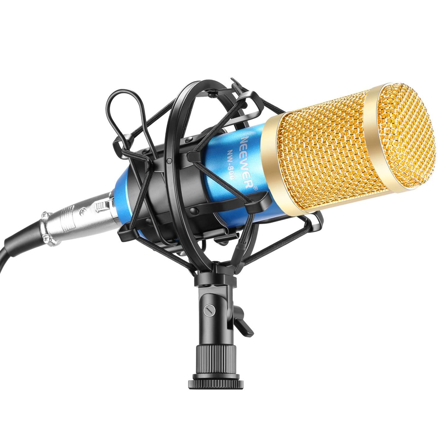 Neewer NW-800 Professional Studio Broadcasting & Recording Microphone Set Including (1)NW-800 Professional Condenser Microphone + (1)Microphone Shock Mount + (1)Ball-type Anti-wind Foam Cap + (1)Microphone Power Cable (Blue) by Neewer