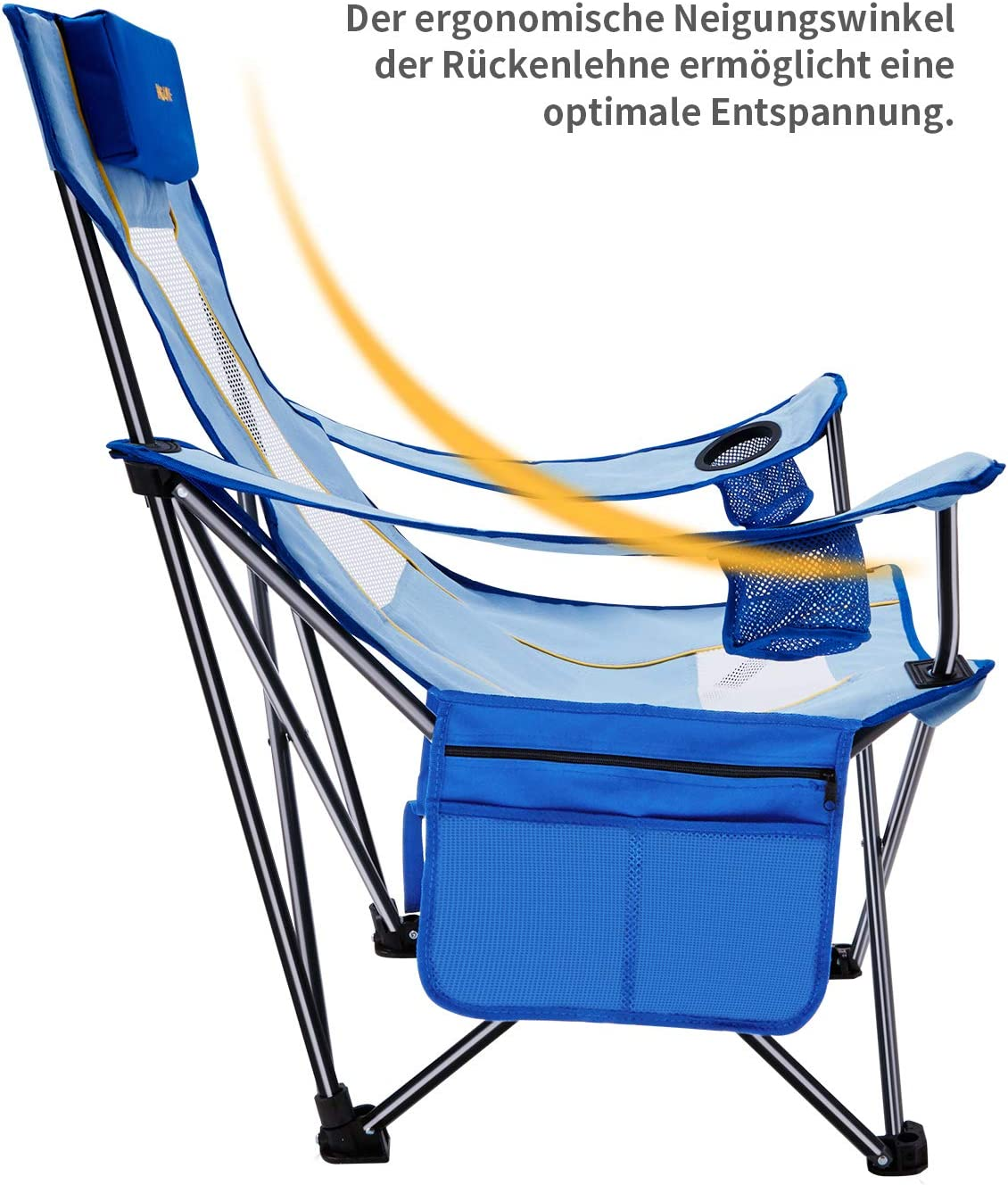 #WEJOY Campingstuhl Faltstuhl Klappstuhl mit Seitentasche Getr/änkehalter abziehbares Kopfkissen Stahlrohr bis 120kg Belastbar Tragetasche mit Trageschlaufe