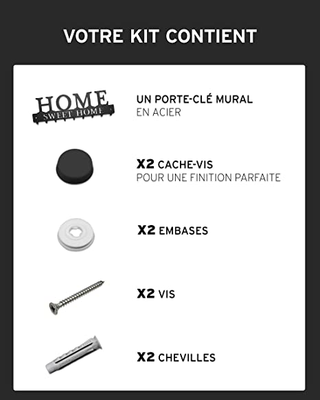schwarz Design Metall FR-Handarbeit Home Sweet Home Schl/üsselhalter 9 Haken Haus-Aufbewahrung