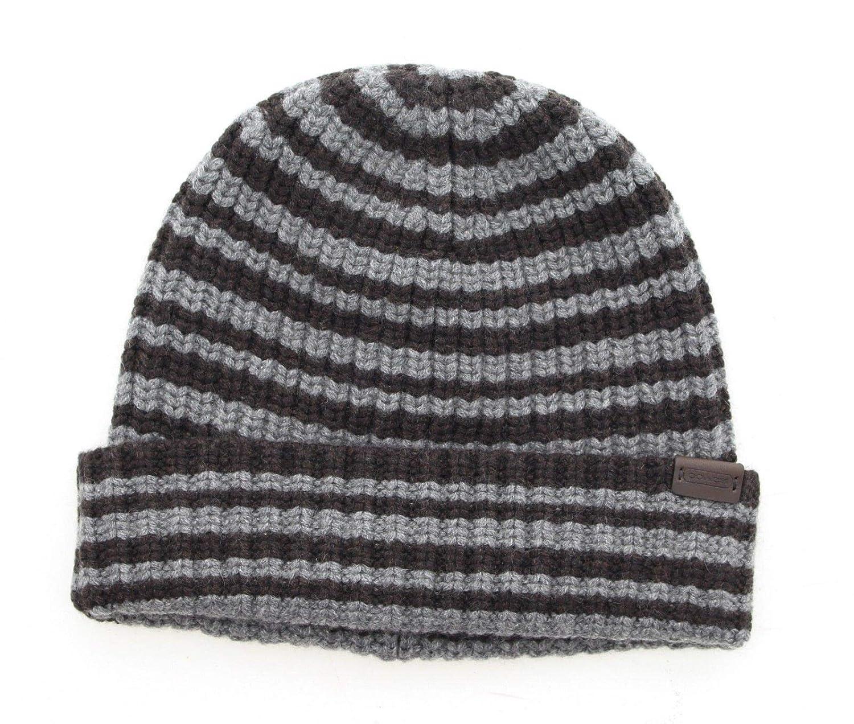 3653e38c039 Coach 83147 Mens Cashmere Striped Rib Knit Hat Beanie Cap (Black Light  Grey) at Amazon Men s Clothing store