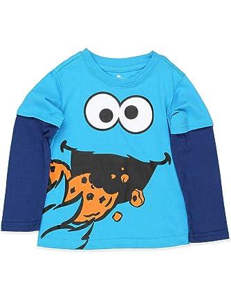 99954d6d Sesame Street Cookie Monster Toddler Boys Long Sleeve Tee (18 Month, Light  Blue)