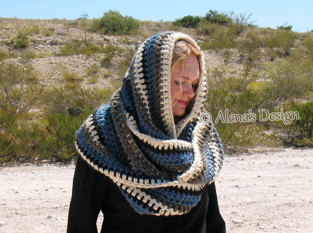 Infinity Striped Scarf - Hooded Cowl - Wrap Neck Warmer - Neck Wear Ladies Women Autumn Christmas by AlenasDesign