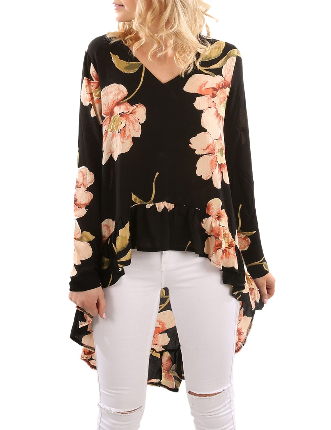 Blooming Jelly Women's Oversized Long Sleeve V Neck Shirts Frilled Floral Blouse Hi Low Asymmetrical Flattering Tops(M, Black)