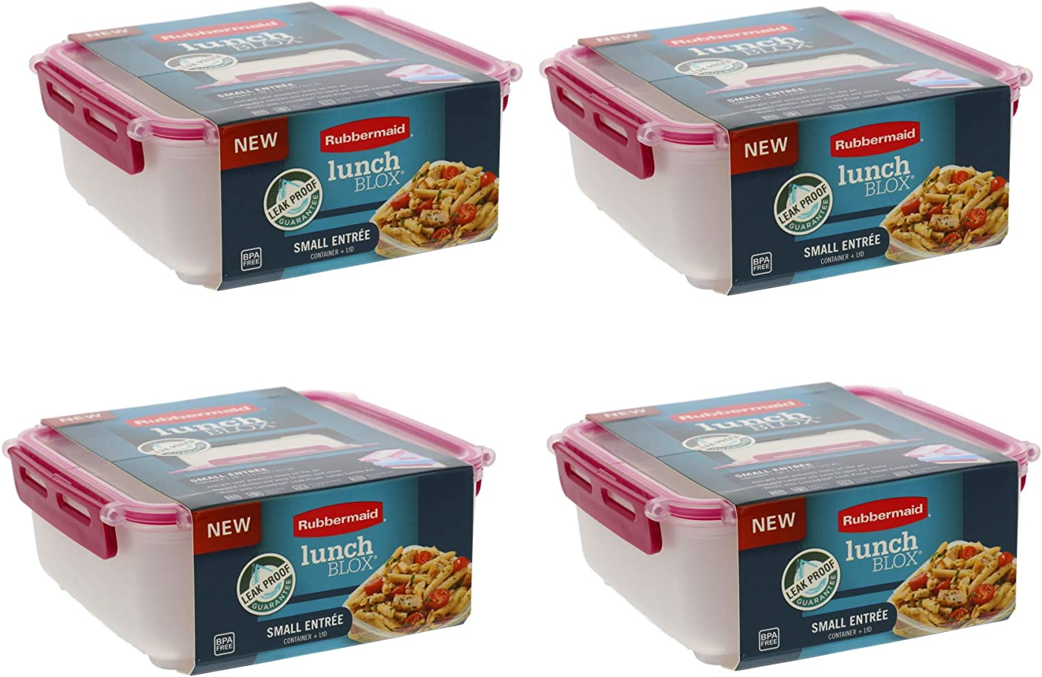 LunchBlox Leak Proof Small Entree Container with Lid-BPA Free, Stackable Lunch Box with Airtight Seal and Durable Latches-Great for Home, School Lunches, On the Go - 2.6 Cup, Coral (4 Pack)