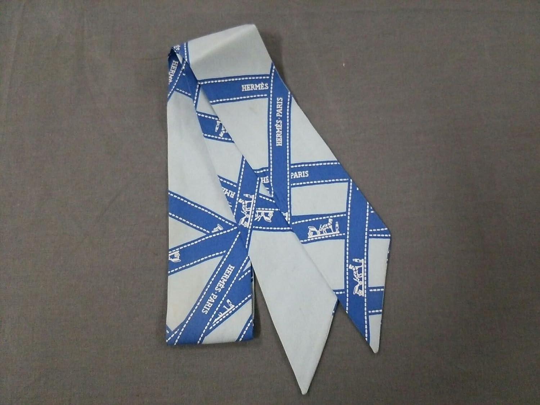 (エルメス) HERMES スカーフ ライトブルー×ブルー×白 ツィリー 【中古】 B07FTC2ZX4  -