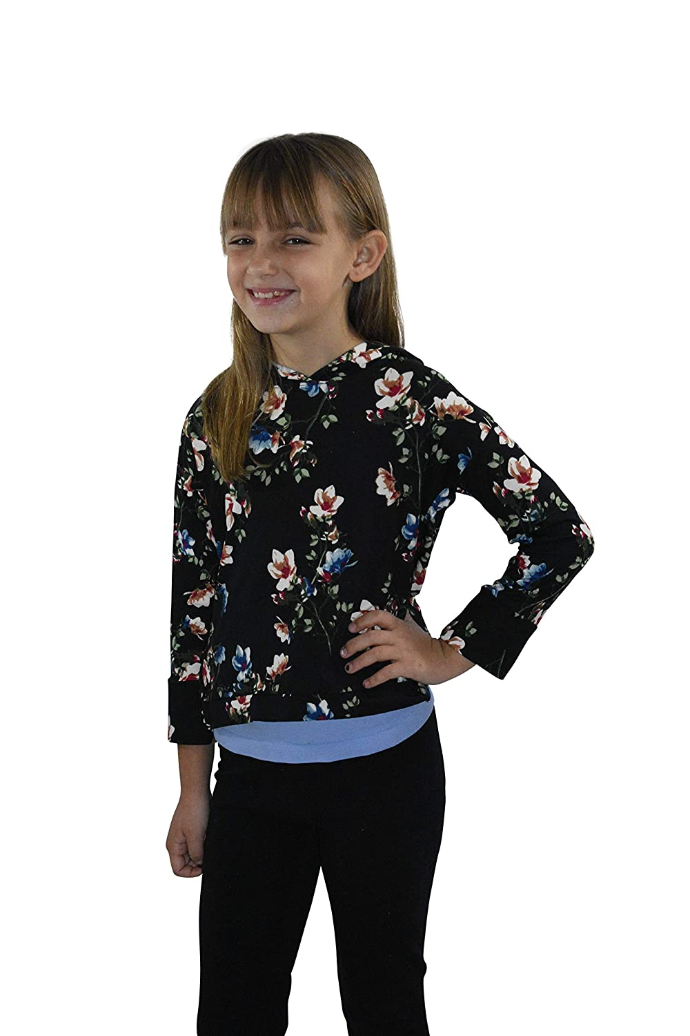 Pink and Black with Zipper Girls Cute Long Sleeve Made in USA Flexible Soft Fabric Hoodie for Kids Comfortable Warm Cozy