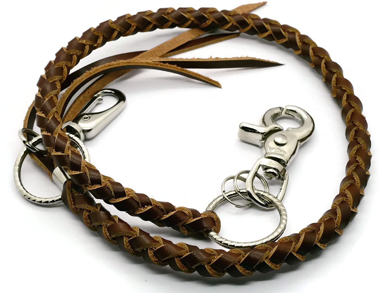 BrownBeans, Biker Style Mens Teens Braided Leather Lanyard Wallet Chain Fob Key Holder Wallet Strap (BBKC7003) (B02) Hellobrownbeans