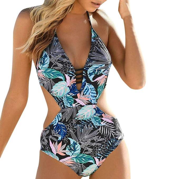miglior servizio 75018 be488 Darringls Costumi da Bagno Donna Intero Costume Mare da Donna Trikini  Costume 2019 Costume Intero Push up Bikini Elegante Tinta Unita Cinturino  alla ...