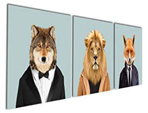 Gardenia Art - Series 3 Animal World Lion Wolf and Fox Canvas Prints Modern Wall Art Paintings Puppy Wild Animal Artwork for Room Decoration,12x12 inch, Stretched and Framed