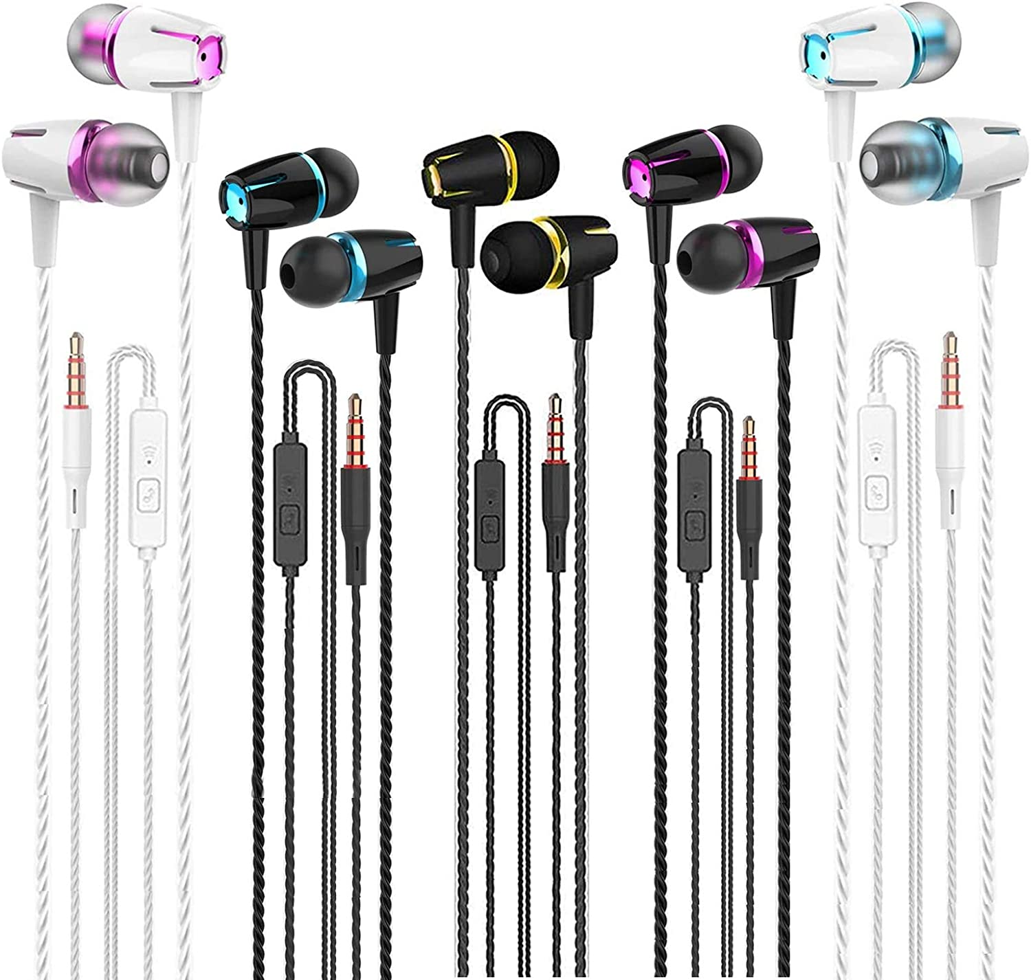Earbuds with Microphone, 5-Pack of Wired Earphones, Noise-Cancelling in-Ear Earbuds for iPhone, iPad, iPod, Mp3 and Most Android Smartphones with 3.5mm Connector