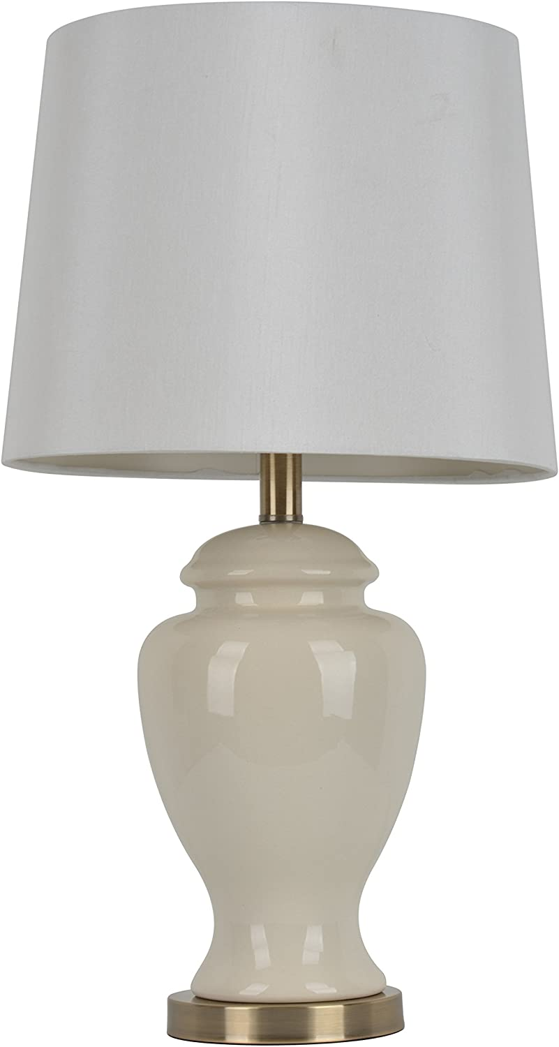 "Décor Therapy TL7911 24"" Ceramic Table Lamp, Cream Finish"