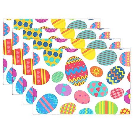JSTEL Manteles individuales multicolores de Pascua huevos ...