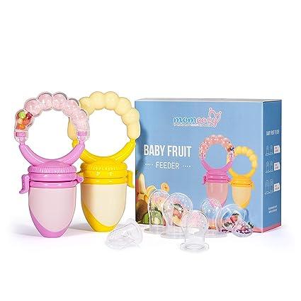 Chupete Mordedor de Frutas/Alimentador Antiahogode Comida de Bebés(2 unidades) - Momcozy Chupetes Teteros para Bebés o Niños pequeños, con Sonajero, ...