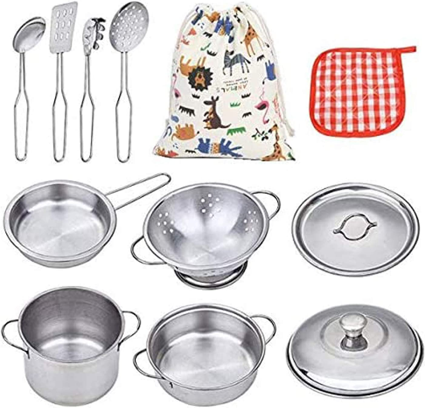 Amazon Com Vipamz My First Play Kitchen Toys Pretend Cooking Toy Cookware Playset For Kids 11 Pieces Stainless Steel Pots And Pans With Cooking Utensils Dishwasher Safe Toys Games