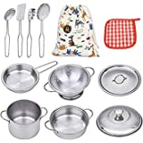 VIPAMZ My First Play Kitchen Toys Pretend Cooking Toy Cookware Playset for Kids 11-Pieces Stainless Steel Pots and Pans with