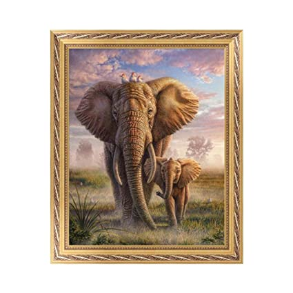 DIY 5D Diamond Embroidery Elephant Painting Cross Stitch Art Craft Home Decor