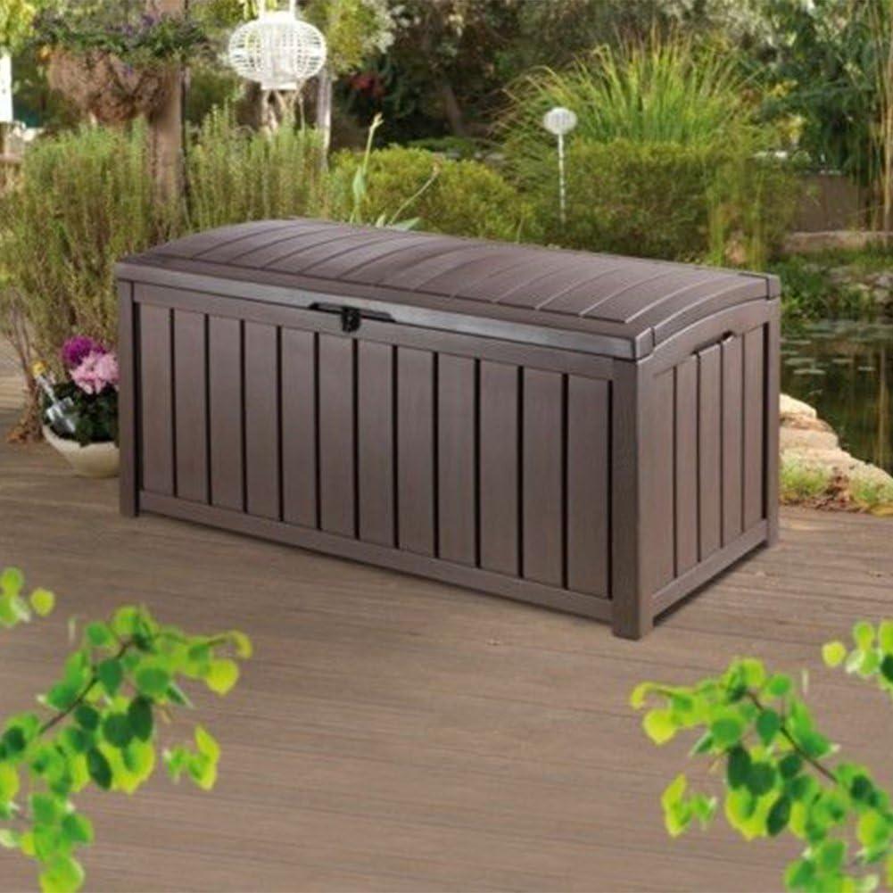 CRAVOG Keter Glenwood jardín caja de almacenaje grandes al aire libre banco 390 L: Amazon.es: Jardín