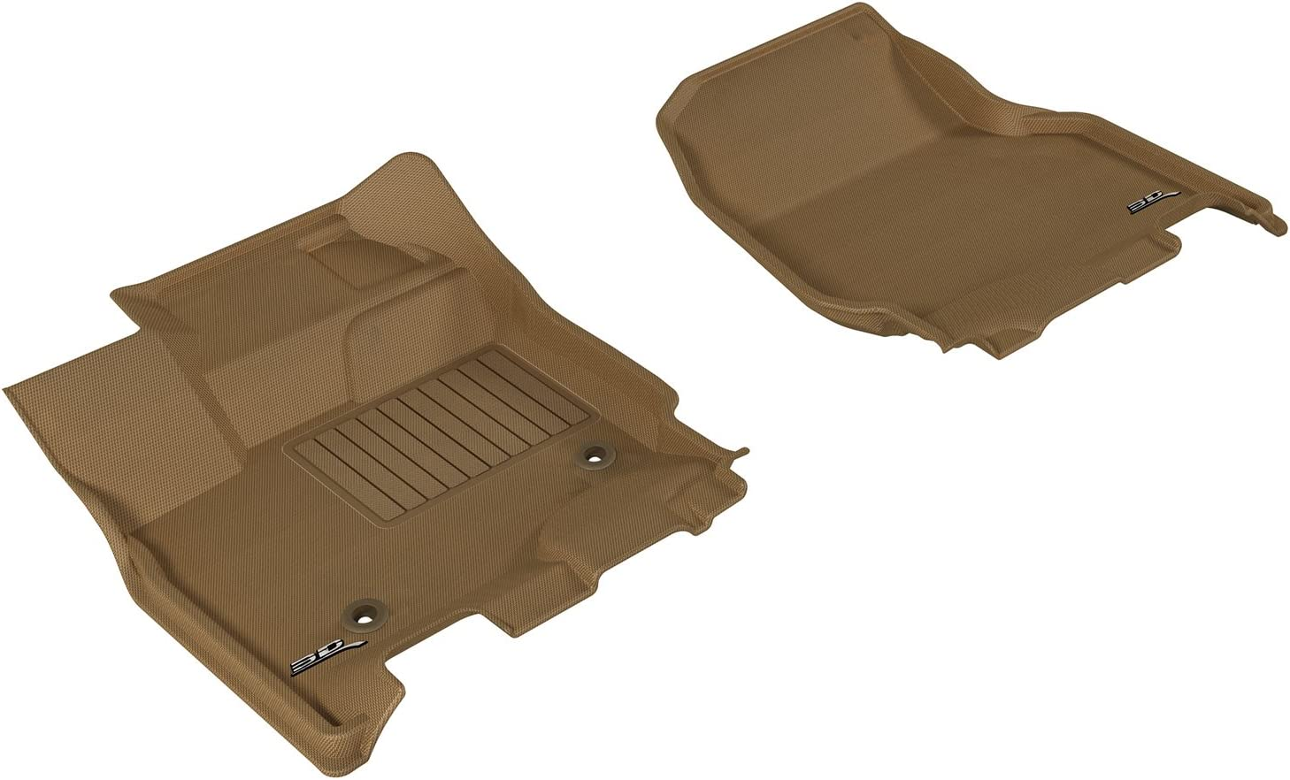 3D MAXpider First Row Custom Fit Floor Mat for Select Ford F-150 Supercrew Models Tan Kagu Rubber