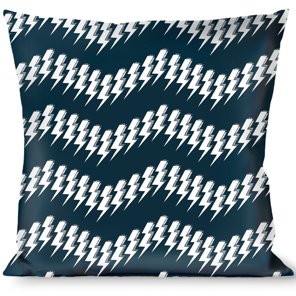 Buckle Down Lightning Bolts Sketch Navy//White Throw Pillow Multicolor