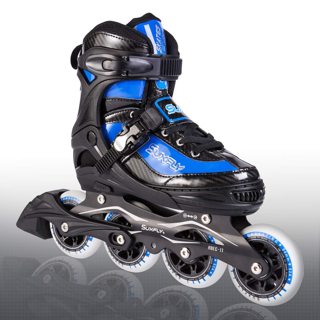 Kuxuan Herio Men Adjustable Rollerblades Fun 11 Aggressive Inline Skates Performance 84mm 90mm Wheels For Boys Girls And Ladies Blue M Sports