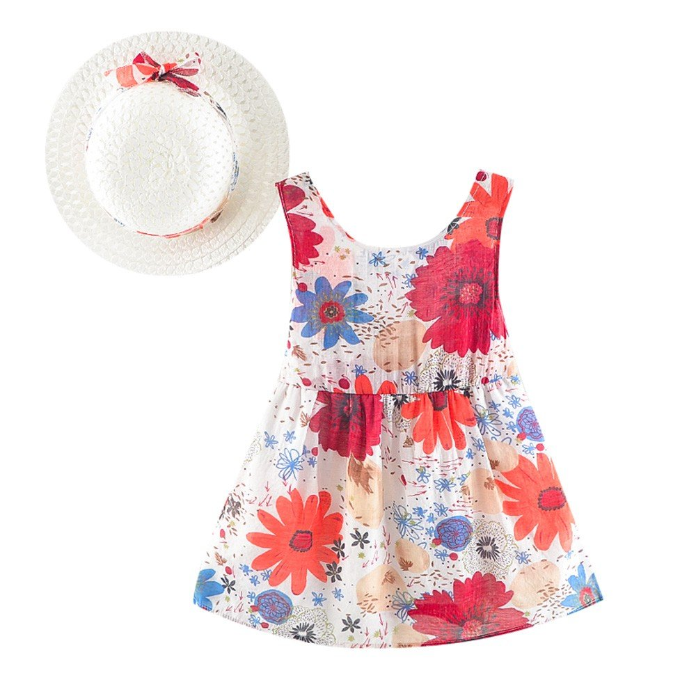 Little Girls Dresses Baby Summer Dress Clothing Set Sleeveless Floral Dress with Straw Hat 0-24M Yamally Yamally_9R