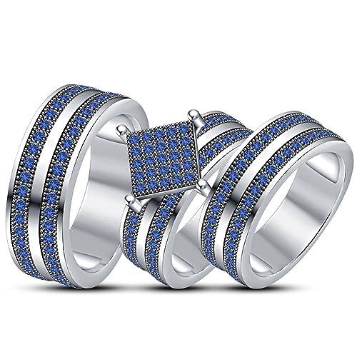 Juego de anillos de boda para hombre y mujer, chapados en platino blanco, plata
