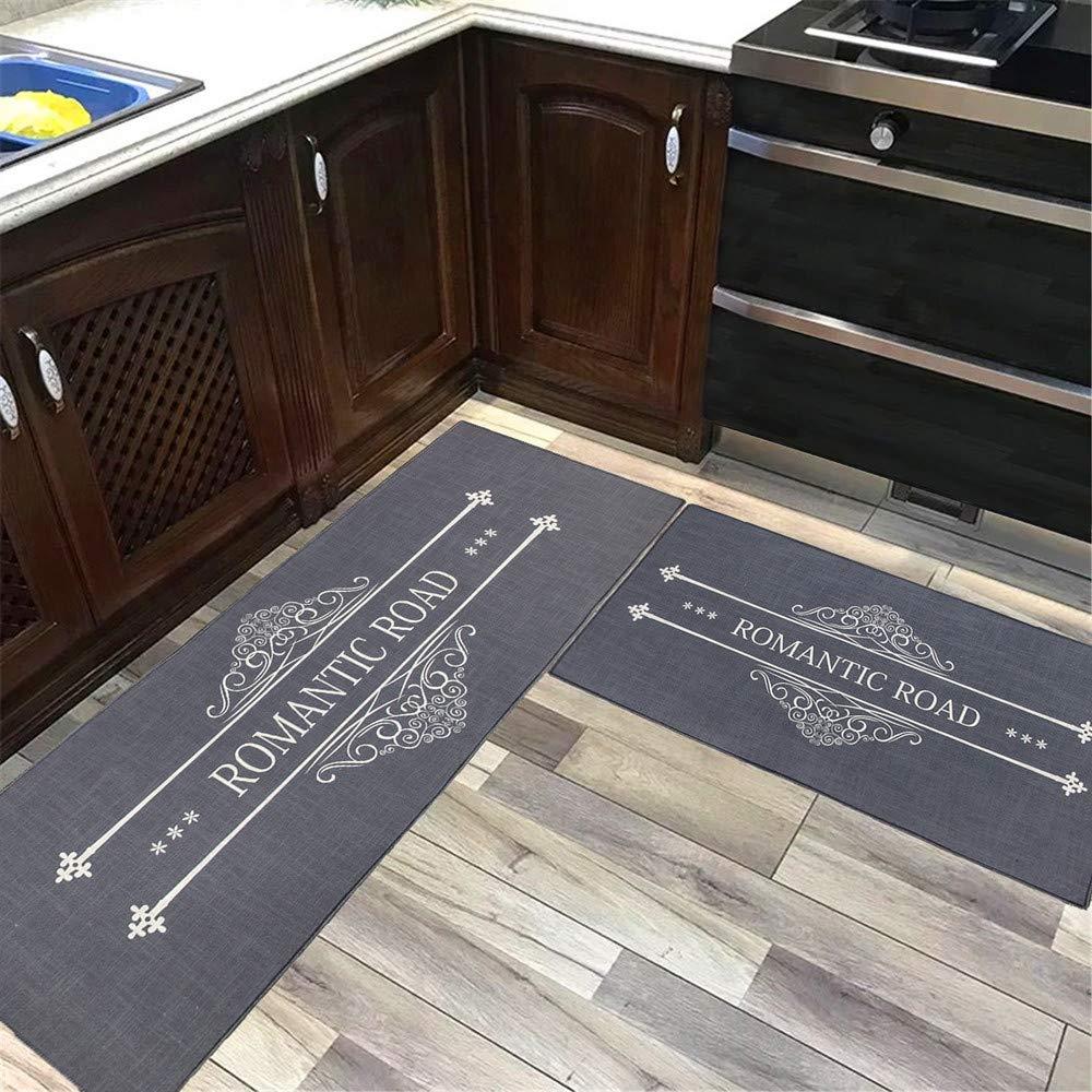 キッチンマット2枚セット Hihome ノンスリップ イミテーションリネン キッチンラグ ドアマット 寝室 エリアラグ フロアマット 2枚セット (18インチx32インチ+18インチx60インチ)   B07JKTVM63